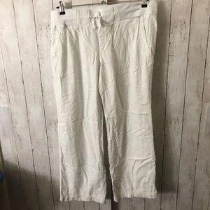 Wide leg linen pants - grey and white - size L